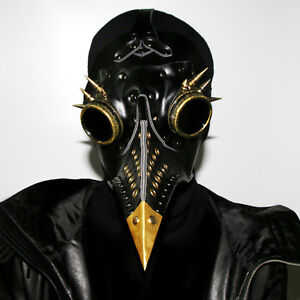 Details about Plague Doctor Steampunk Costumes Masquerade Mask Black  Leather Bird Mask Gothic