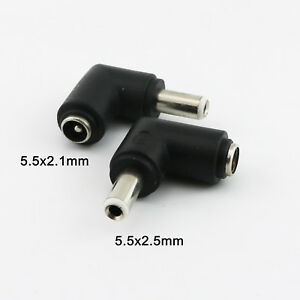 Right Angle 5.5mm x 2.5mm Male Plug to 5.5mm x 2.1mm Female Jack DC Connector