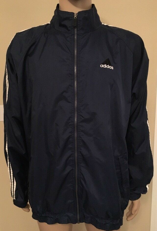 VINTAGE ADIDAS Coupe-vent rayé 3M pour homme, taille XL, veste noire, années 90