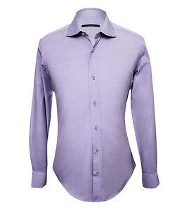 Pal Zileri Men's Violet Patterned Cotton Dress Shirt Slim fit, size 37, 38, 42