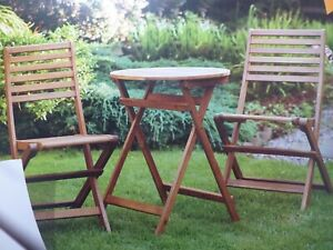 Wooden Bistro Table 60 Cm With 2 Chairs Outdoor Garden Patio Set = Free UK Post | EBay