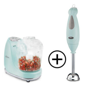 Oster 3-Cup Mini Chopper+ Oster 2 Speed Immersion Blender (Blue Bundel)