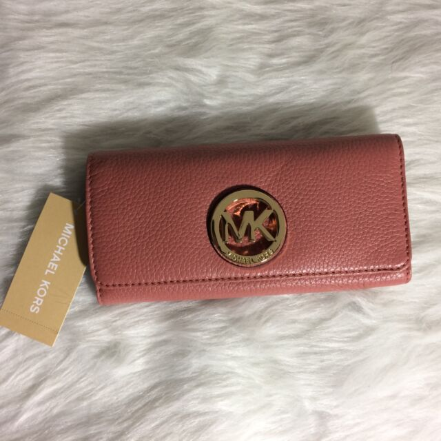 2b90b8aa4fb7 Michael Kors Antique Rose Fulton Flap CONTINENTAL Leather Wallet for ...