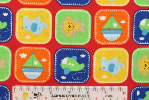 H1 /< Rockaby Baby Boy Patch Red Planes Boats Monkeys Cotton Flannel Fabric  BTY