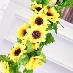 Simulated-Sunflower-Garland-Vine-Leaf-Wedding-Floral-Home-Decor-Supplies