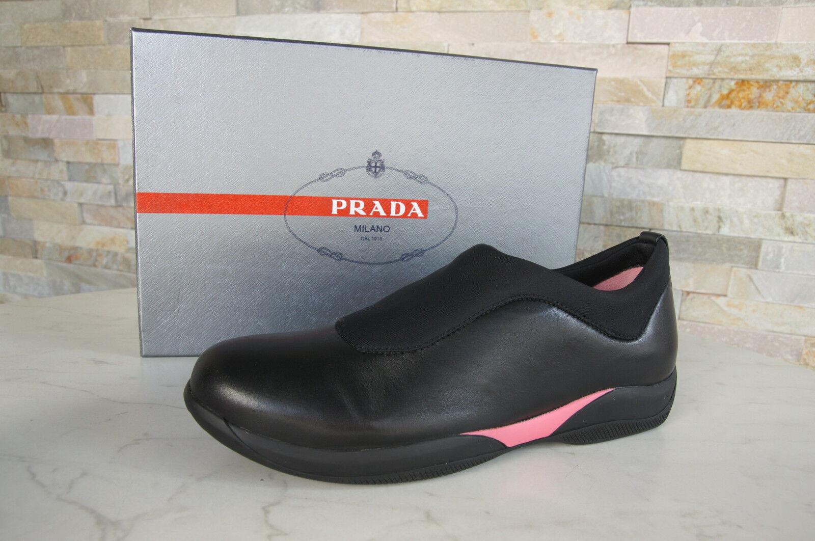 PRADA  38,5 Slipper Mokassins Slip-On Halbschuhe Schuhe schwarz pink NEU