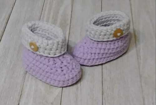 Baby Boots Booties Newborn 0/3 M Purple Gray Button Crochet Knit Handmade New