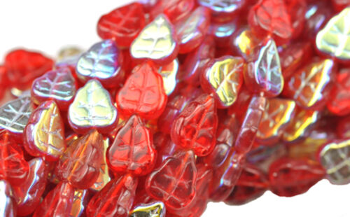 25 RUBY RED AB CZECH GLASS LEAF BEADS 10MM