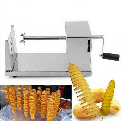 1x Manual Batata Stainless Steel Chip Tornado Potato Spiral Slicer Cutter Twist