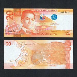 2020 PHILIPPINES 20 PISO P-206 UNC>MANUEL QUEZON BANAUE RICE TERRACES PALM CIVET