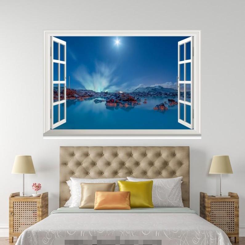 3D Moonlight 606 Open Windows WallPaper Murals Wall Print Decal Deco AJ Summer