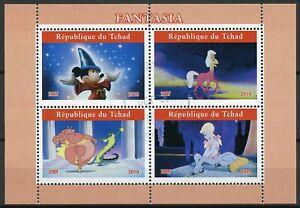 Chad-2019-CTO-Fantasia-Mickey-Mouse-4v-M-S-II-dibujos-animados-de-Disney-Sellos-de-animacion