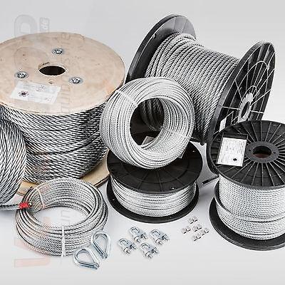 200m DRAHTSEIL in PVC 1//2mm SCHWARZ verzinkt Stahlseil Seil Draht Stahl