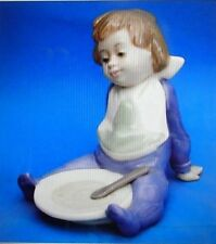 "NAO by Lladro #1074 ""I'm Full"", baby boy w bowl & spoon - MINT, no box"