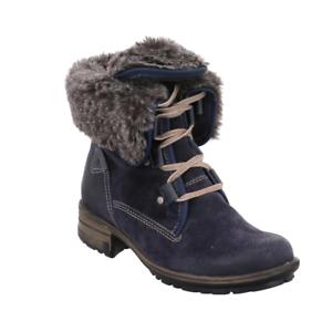 Josef Seibel Sandra 04 Denim Blue Combi Lace Up Mid Calf Combat Boots