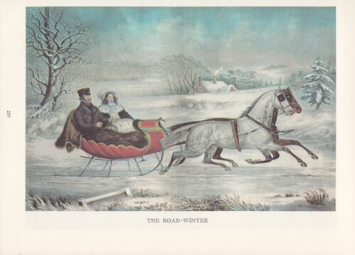 """1974 Vintage Currier /& Ives COUNTRY LIFE /""""ROAD WINTER SLEIGH RIDE/"""" COLOR Litho"""