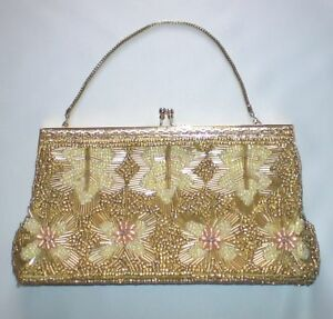 60-039-s-Vintage-Gold-Beaded-Purse-Bag-with-Gold-Handle