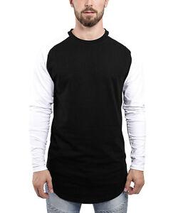 2be5265d0d62 Image is loading Blackskies-Baseball-T-Shirt-Longshirt-Black-White-Longline-