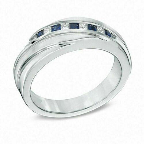 Details about  /Vera Wang Love Collection Men/'s Princess White Blue Diamond Ring Band 925 Silver