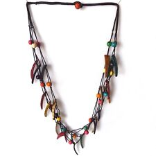 COLOURFUL LONG  COLORED COCONUT SHELL NECKLACE, TRIPLE STRANDS SPIKES TRIANGLES