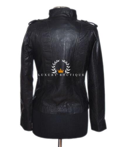 Dames Kelly Style Souple Vrai Biker Noires De Cuir Retro Mode Veste En Mouton pUqdU