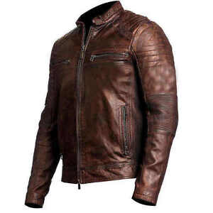 67ec7e0e147 Image is loading Vintage-Cafe-Racer-Distressed-Brown-Biker-Leather-Jacket-