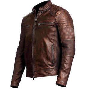 67ec7e0e147 Image is loading Vintage-Cafe-Racer-Distressed-Brown-Biker-Leather-Jacket-