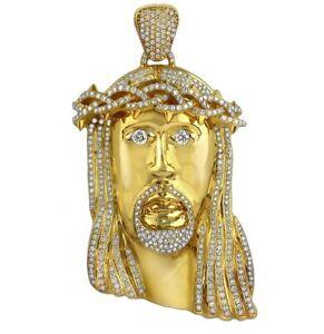 14K-Yellow-Gold-Over-925-Silver-Mens-Diamond-White-Jesus-Head-Pendant-4-85-Ctw