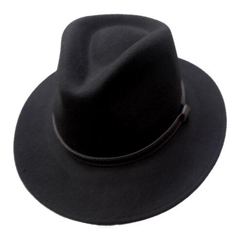 Homme Laine Chapeau Noir Classique Voyageur Fedora Chapeaux Élégant Altagshut