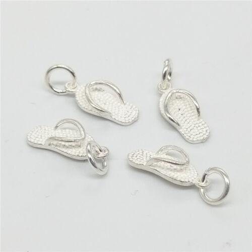 4 of 925 Sterling Silver Flip Flop Slipper Shoe Charms for Bracelet Necklace