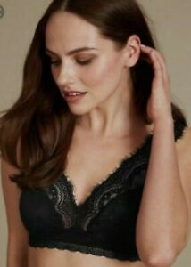 NEW BLACK FULL CUP BRA MARKS /& SPENCER UNDERWIRED WITH LACE 42 E 44 F NON SLIP S