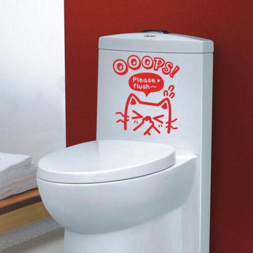 Please Flush~ Bathroom Wall Sticker Home Decor Toilet Decal Art Design Ooops