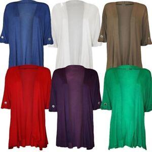 Manches-3-4-Plain-Cascade-Ouvert-Cardigan-Haut-Femmes-Taille-Plus-tenues-de-soiree-Top
