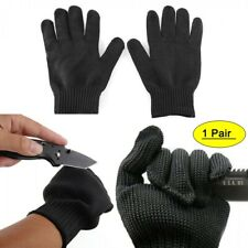 A Pair Black Anti Cutting Gloves Stainless Steel Wire Cut Resistant Safety