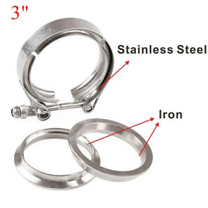 """304 76MM V-Band Clamp+2 Flange 3/"""" Inch Turbo Exhaust Down Pipe Stainless Steel"""