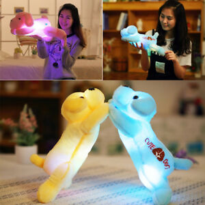 Pluesch-Hund-gefuellt-Welpen-leuchtende-Puppe-LED-Licht-leuchtende-Kissen-Geschenk