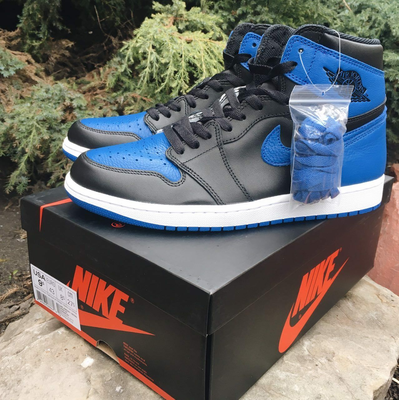 Nike Air Jordan Retro 1 I HIGH OG ROYAL blueE VARSITY BLACK 555088-007 Mens US12