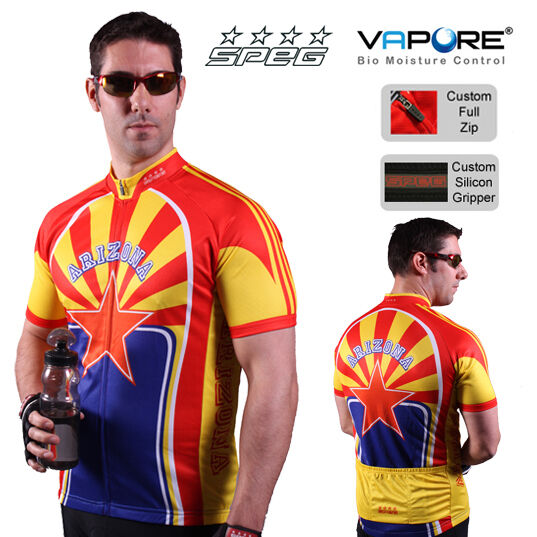SPEG Arizona Mens Short Sleeve Cycling Jersey Full Zipper Multi-color Vapore