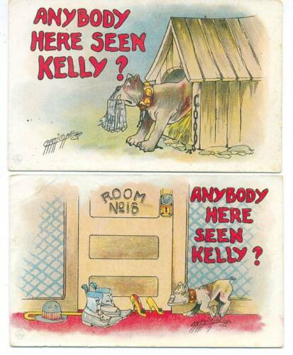 "5 Comic Postcards ""Anybody Here Seen Kelly?"" Carmichael"