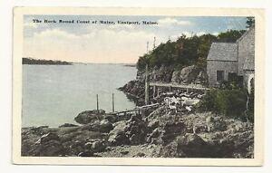 EASTPORT-MAINE-ME-Rock-Bound-Coast-Vtg-1921-Postcard