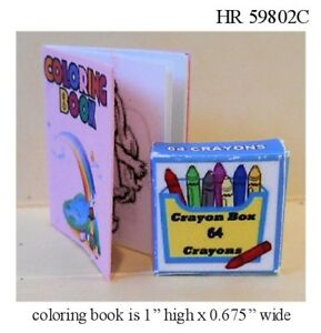 COLORING BOOK AND CRAYONS DOLL HOUSE MINIATURE