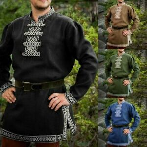 Men/'s Medieval Renaissance Tunic Top Shirt Knight Norseman Saxon Cosplay Costume