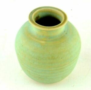 """Vintage Teal Pottery Clay Jar Unknown Artist Bowl Cup Pot 3"""" Small Miniature Pot"""