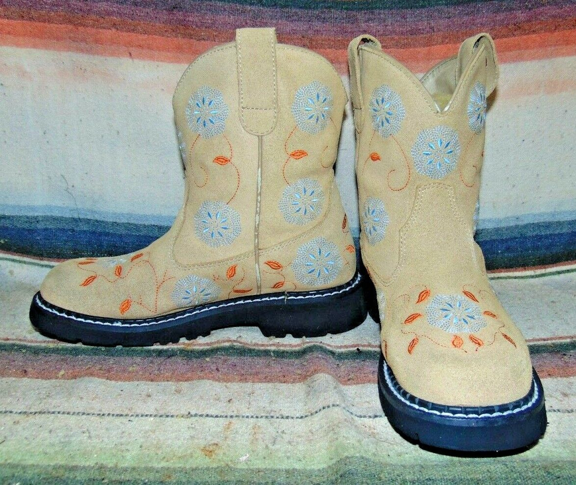 Womens Roper Brown Ruffout Leather Embroidered Short Cowboy Boots 7.5 B VGC