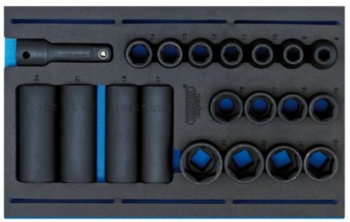"Impact Socket Set in 1//4 Drawer EVA Insert Tray 20pc63487 DRAPER 1//2/"" Sq Dr"