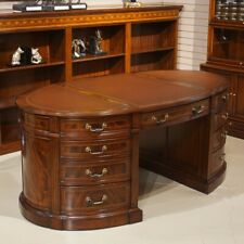 Flamed Mahogany Oval Executive Partners Pedestal Desk Genuine Brown Leather