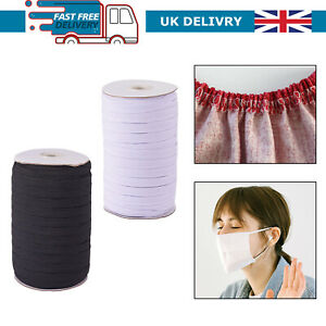 12MM FACE MASK ELASTIC FOR SEWING QUALITY UK STOCK STRETCH BAND CORD BLACK WHITE