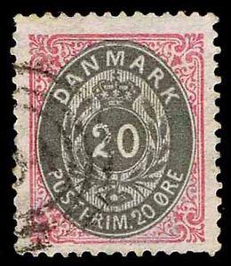 1875-79 DENMARK #31 20 ORE DEFINITIVE -USED - VF - CV $32.50 (ESP#9438)
