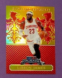 2014-15-PANINI-EXCALIBUR-LEBRON-JAMES-CRUSADE-GOLD-ORANGE-PRIZM-REFRACTOR-01-99