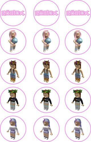 15 x 5cm 2/' Precut Roblox Girls Character  Cupcake Topper Edible Rice Paper